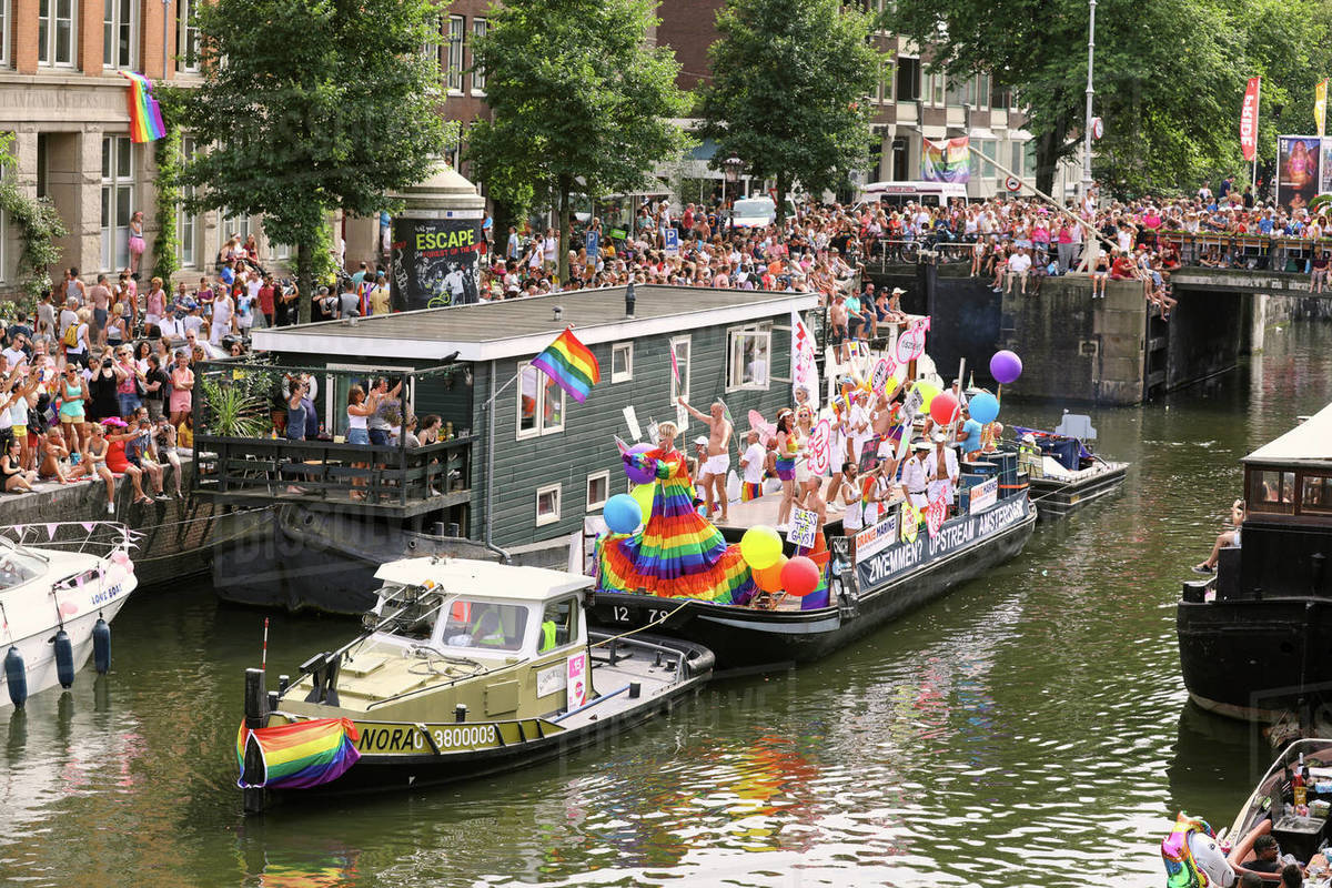 Boat at Gay Pride parade, Canal parade in Amsterdam, North Holland, The Netherlands, Europe Royalty-free stock photo