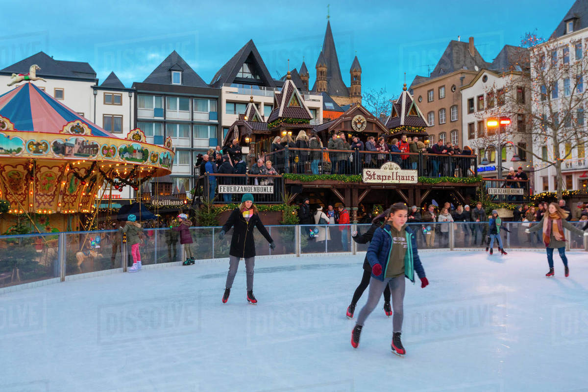 Skating, Cologne Christmas Market, Cologne, North Rhine-Westphalia, Germany, Europe Royalty-free stock photo
