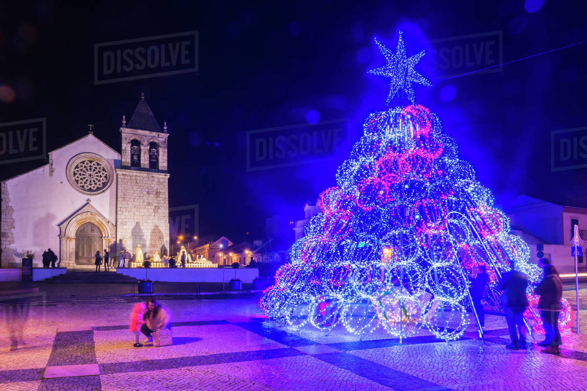Illuminated modern Christmas tree in front of the Parish Church, Alcochete, Setubal Province, Portugal, Europe Royalty-free stock photo