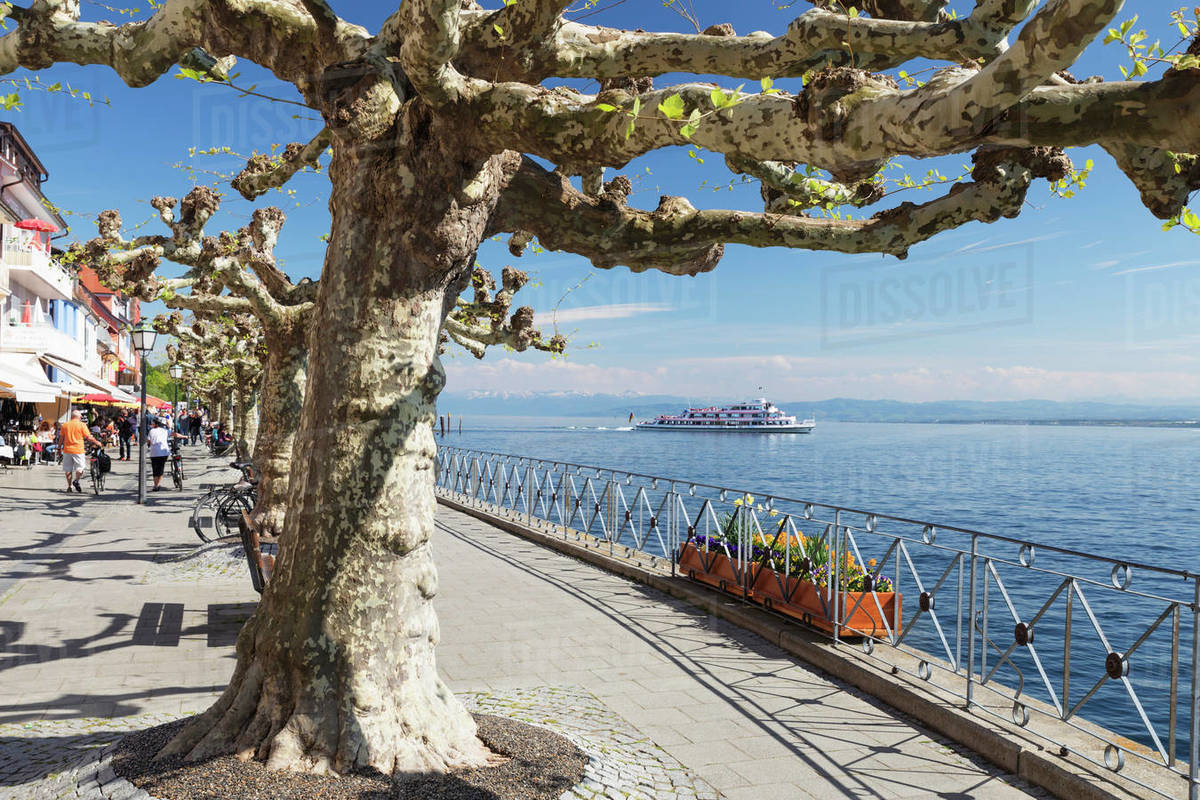 View from the promenade to the Alps, Meersburg, Lake Constance, Baden-Wurttemberg, Germany, Europe Royalty-free stock photo