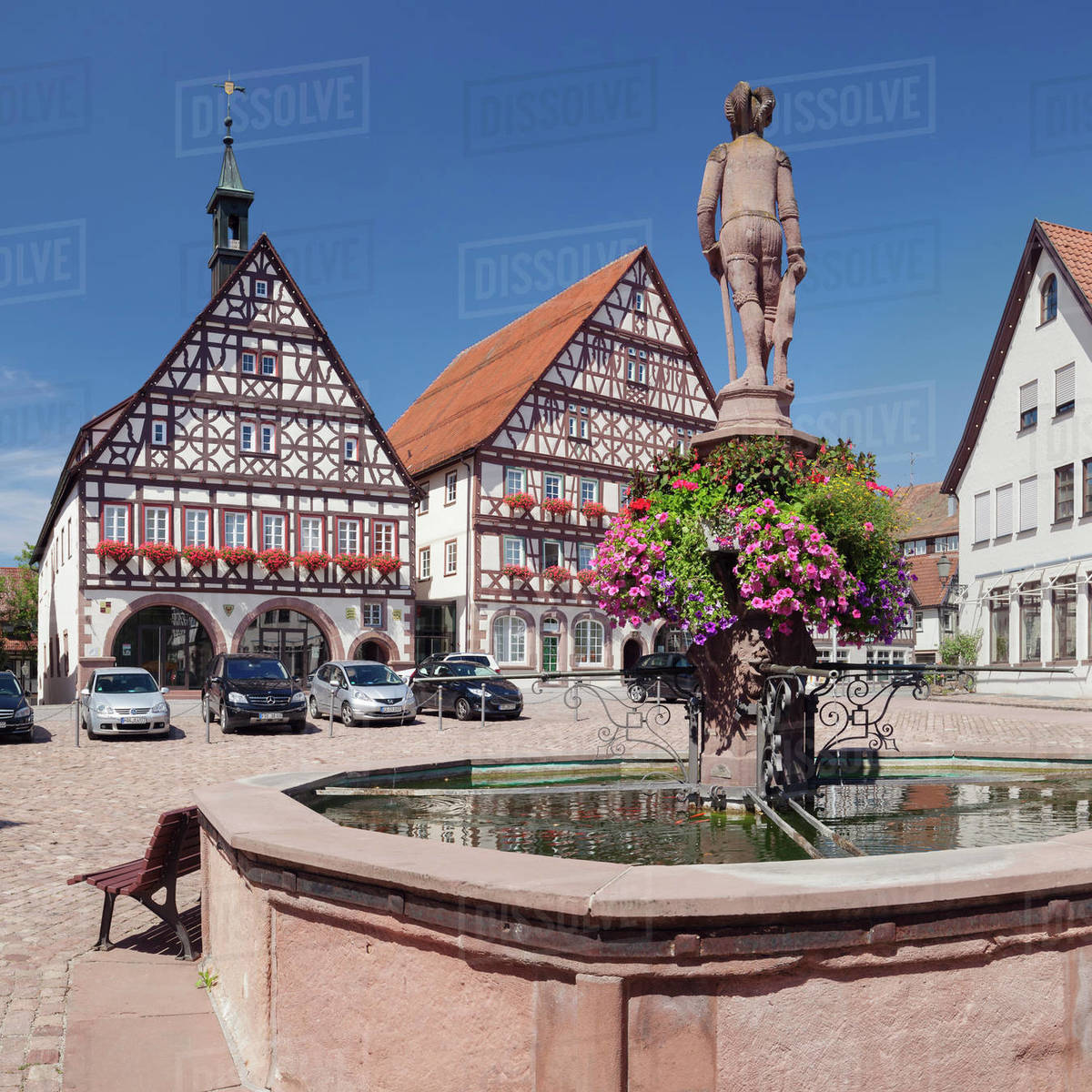 Town hall and half-timbered house, marketplace, Dornstetten, Black Forest, Baden-Wurttemberg, Germany, Europe Royalty-free stock photo