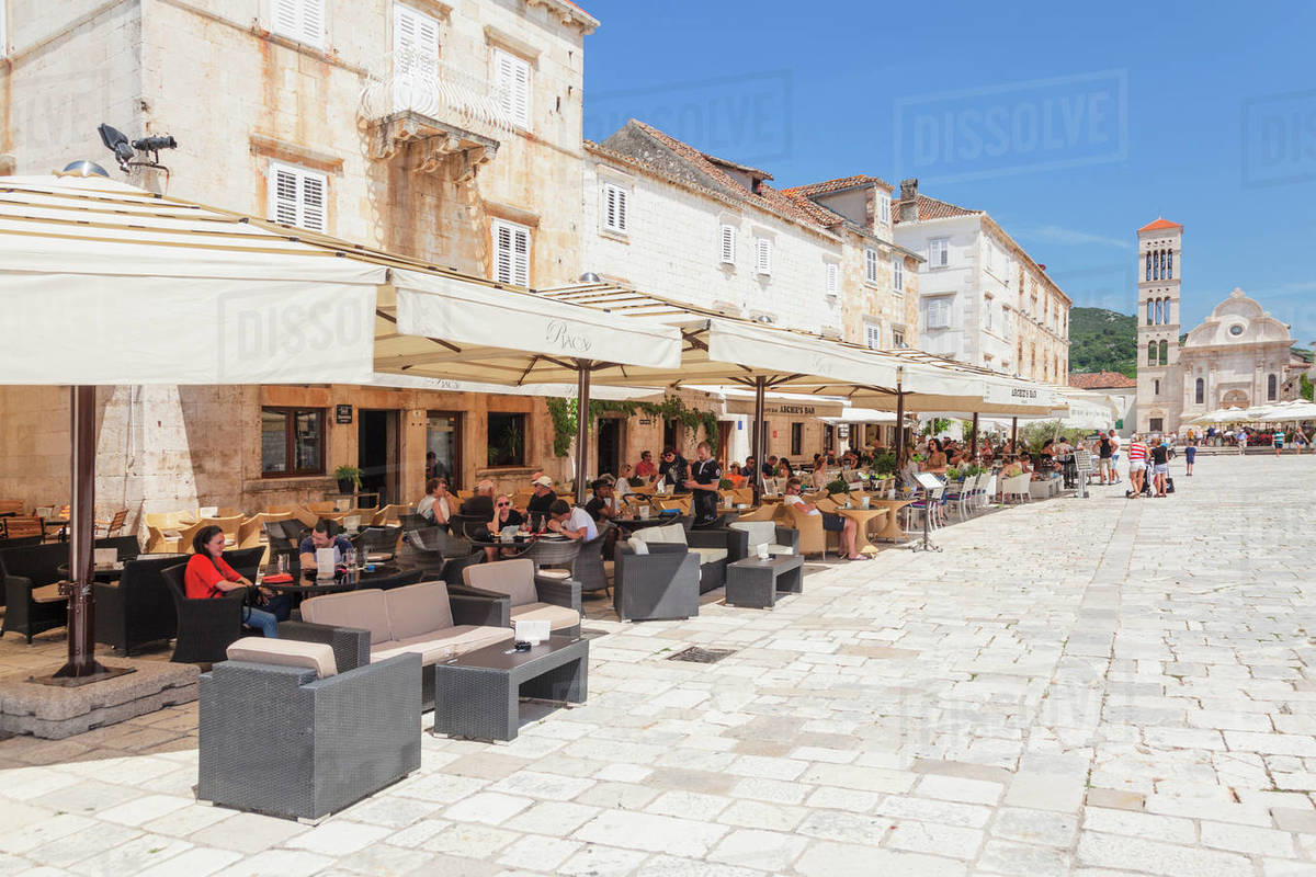 Restaurants at the Main Square with Sveti Stjepan Cathedral, Hvar, Hvar Island, Dalmatia, Croatia, Europe Royalty-free stock photo
