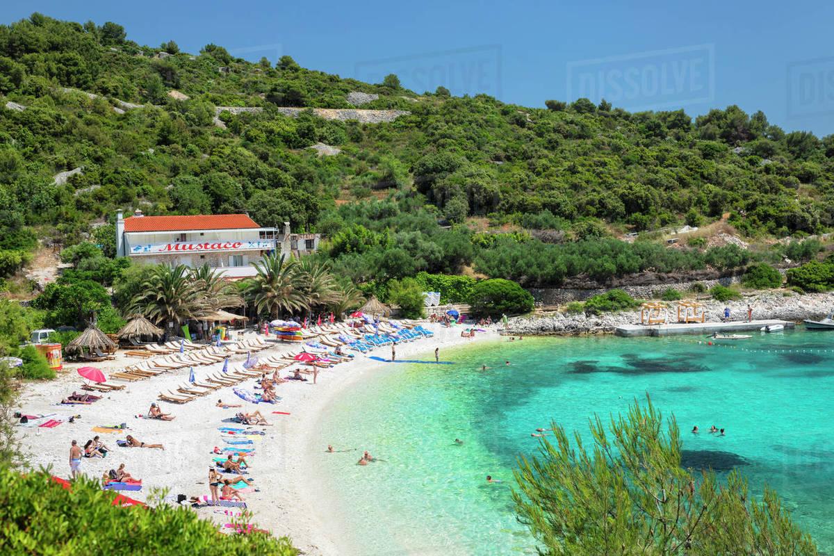Beach near Hvar town, Hvar Island, Dalmatia, Croatia, Europe Royalty-free stock photo