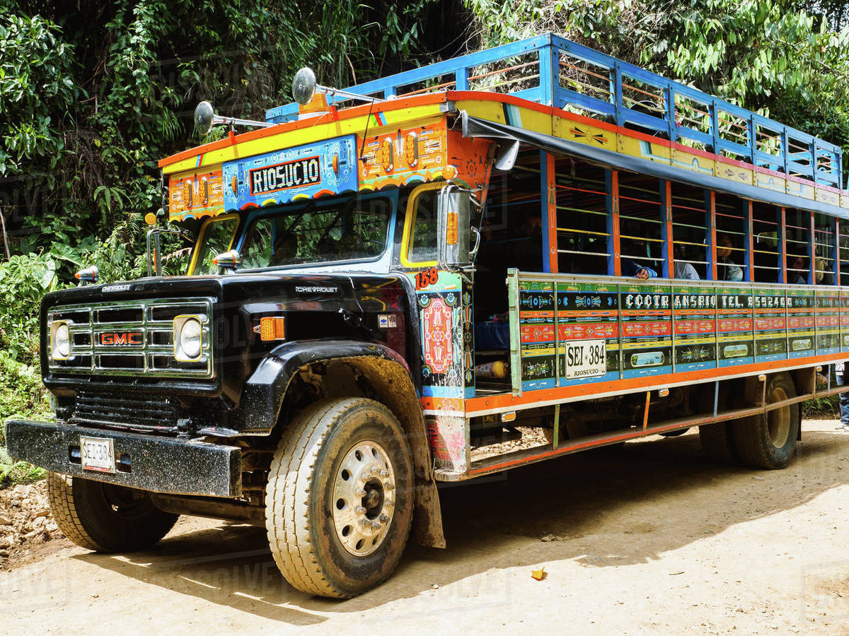 Brightly painted chivas, common transport in rural Antioquia, near Jardin, Antioquia, Colombia, South America Royalty-free stock photo