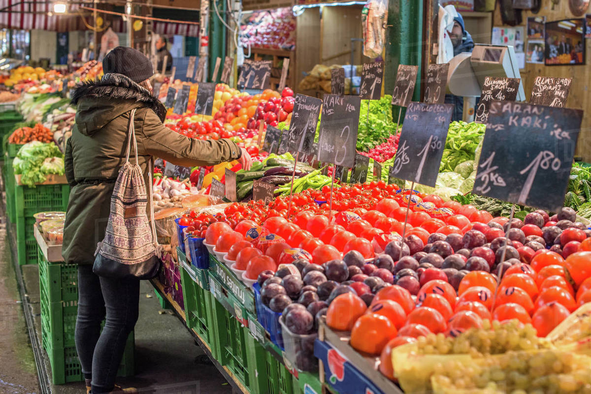 Fruit and vegetables on display at Naschmarkt open food market, Vienna, Austria, Europe Royalty-free stock photo