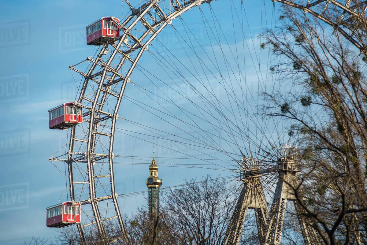 Historic Vienna Giant Ferris Wheel (Riesenrad) in Prater, Vienna, Austria, Europe Royalty-free stock photo