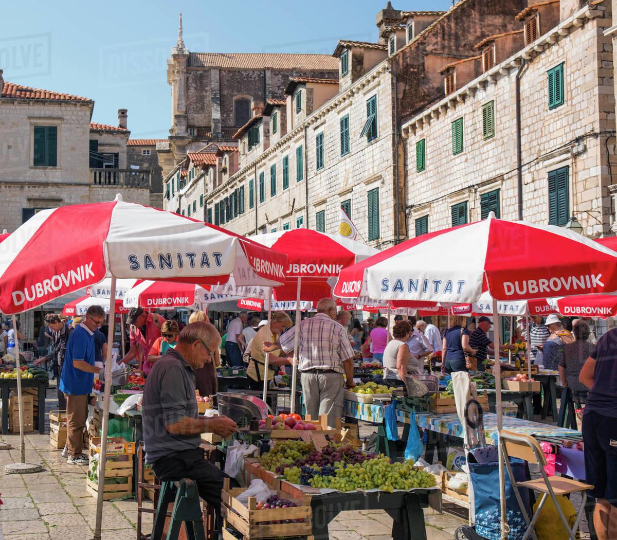 Colourful fruit and vegetable market in Gundulic Square, Gunduliceva Poljana, Dubrovnik, Dubrovnik-Neretva, Dalmatia, Croatia, Europe Royalty-free stock photo