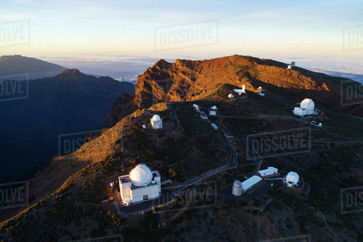 Aerial view of Telescope observatory, near Caldera de Taburiente National Park, UNESCO Biosphere Site, La Palma, Canary Islands, Spain, Atlantic, Europe Royalty-free stock photo
