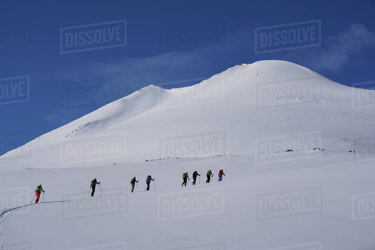 Ski touring in the Lyngen Alps, Lyngen peninsula, Troms County, Norway, Scandinavia, Europe Royalty-free stock photo