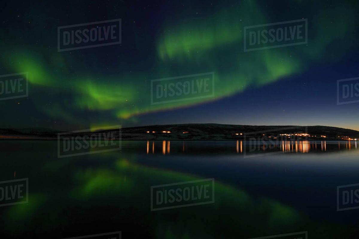 Northern lights (Aurora borealis) at Nordlenangen, Lyngen peninsula, Troms County, Norway, Scandinavia, Europe Royalty-free stock photo