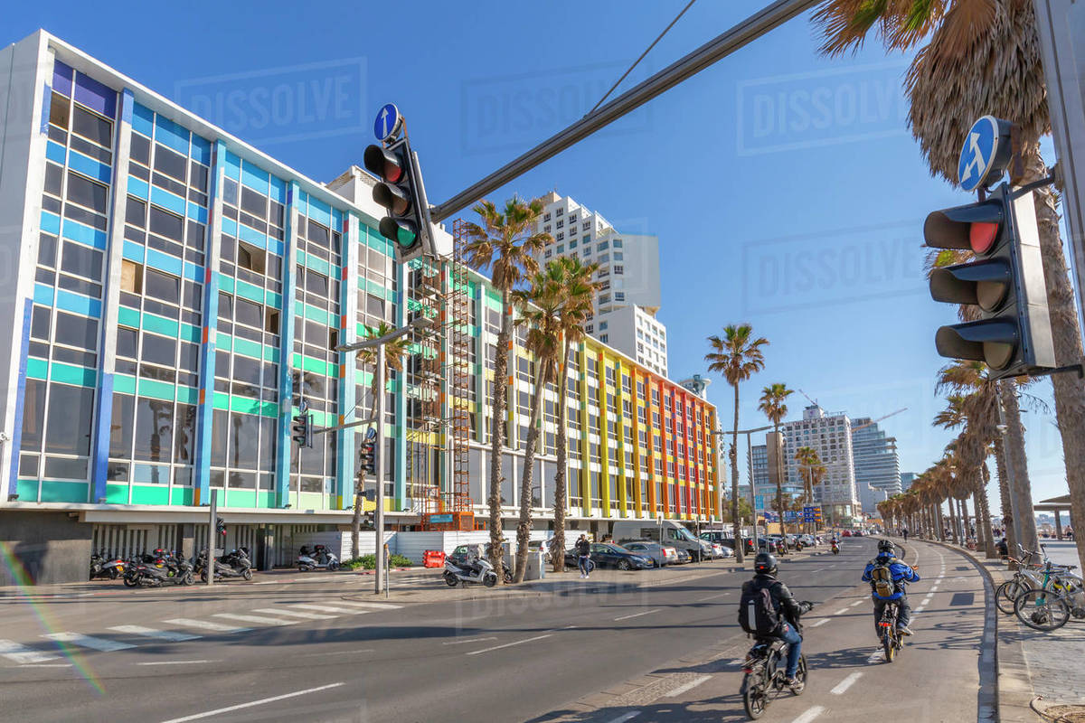 View of colourful buildings and traffic on Hayarkon Street, Tel Aviv, Israel, Middle East Royalty-free stock photo