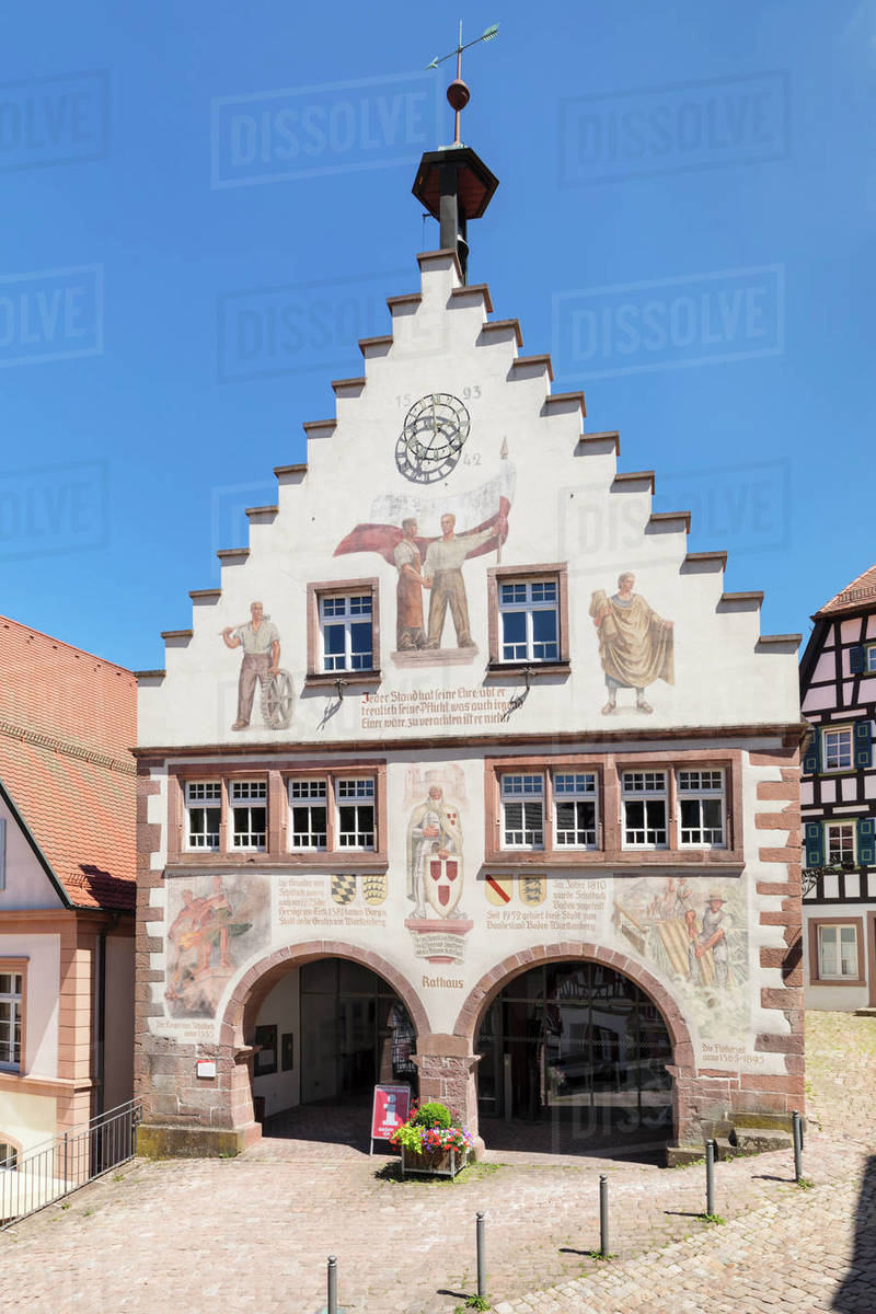 Town hall, market place, Schiltach, Black Forest, Kinzigtal Valley, Baden-Wurttemberg, Germany, Europe Royalty-free stock photo