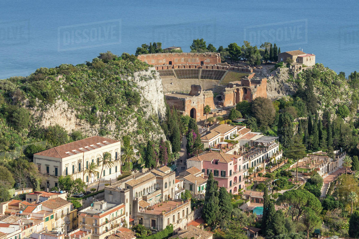 View over Taormina and the ancient Greek Theatre, Taormina, Sicily, Italy, Europe Royalty-free stock photo