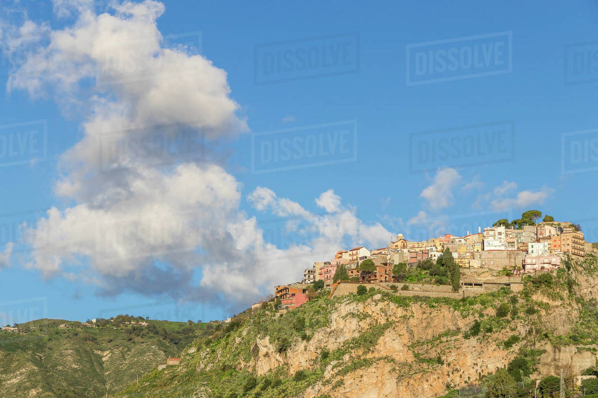View from Madonna della Rocca church to the village of Castelmola, Taormina, Sicily, Italy, Europe Royalty-free stock photo