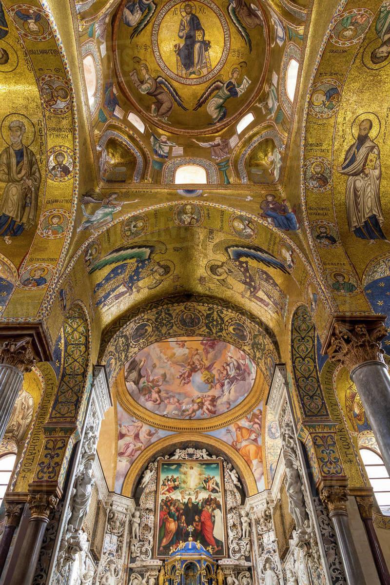 Interior of the Santa Maria dell'Ammiraglio church (La Martorana), UNESCO World Heritage Site, Palermo, Sicily, Italy, Europe Royalty-free stock photo