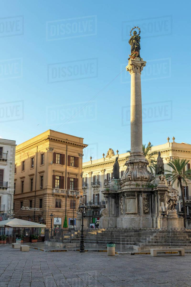 Colonna dell'Immacolata Monument at San Domenico Square near Vucciria, Palermo, Sicily, Italy, Europe Royalty-free stock photo