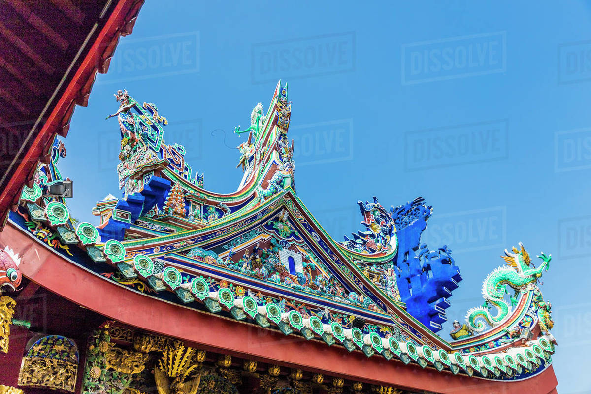 The tiered roof at Khoo Kongsi temple, George Town, UNESCO World Heritage Site, Penang Island, Malaysia, Southeast Asia, Asia Rights-managed stock photo