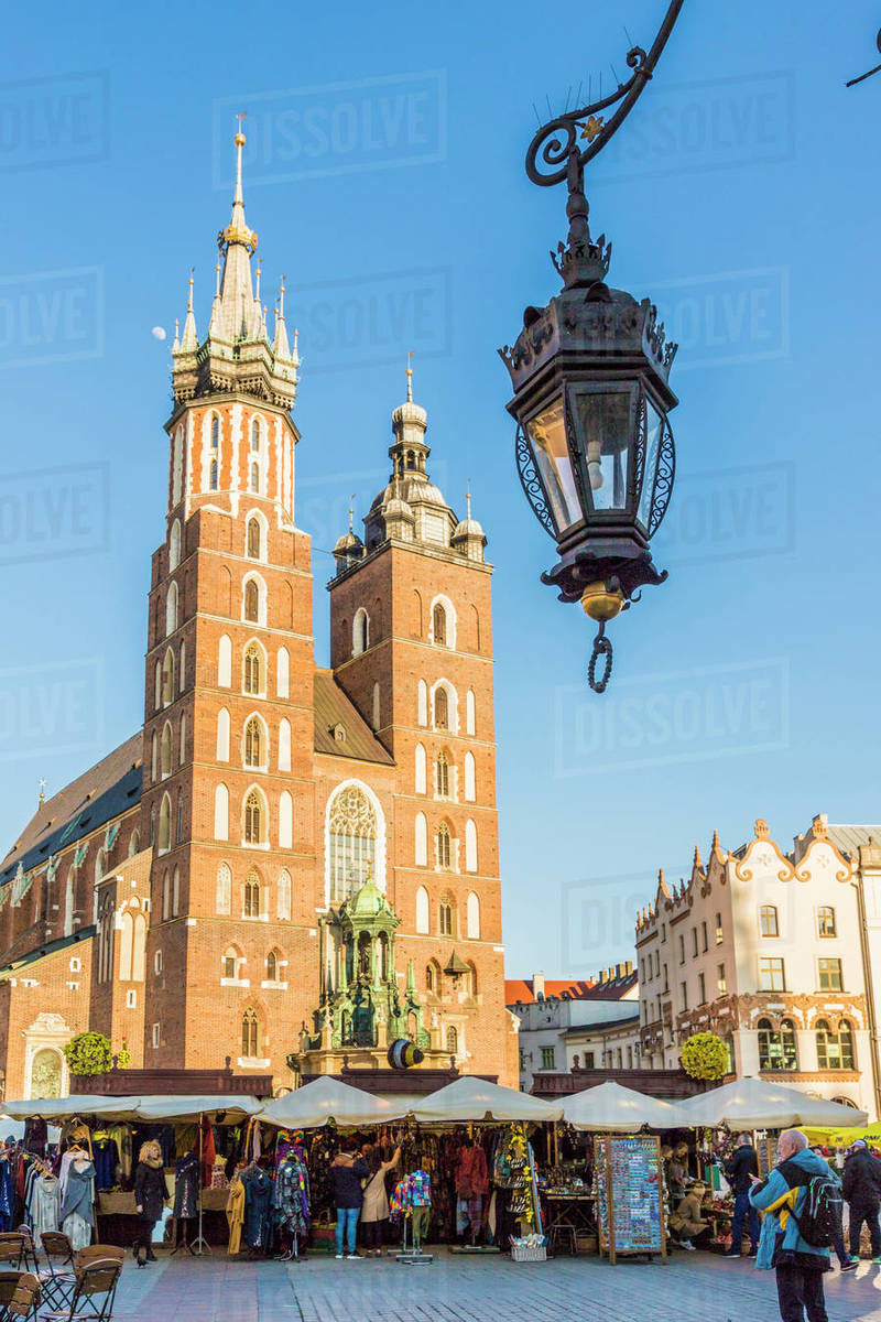 St. Mary's Basilica in the medieval old town, UNESCO World Heritage Site, Krakow, Poland, Europe Rights-managed stock photo
