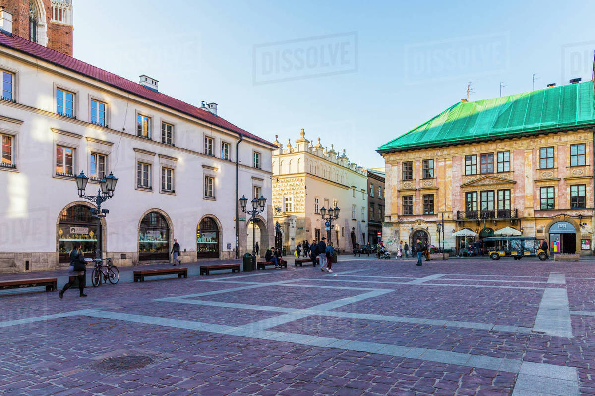 Little Market Square (Maly Rynek), in the medieval old town, UNESCO World Heritage Site, Krakow, Poland, Europe Rights-managed stock photo