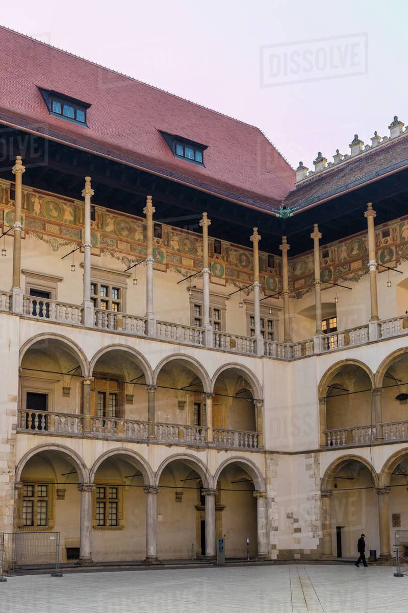 The 16th century Renaissance courtyard, Wawel Royal Castle, UNESCO World Heritage Site, in the medieval old town, in Krakow, Poland, Europe Rights-managed stock photo