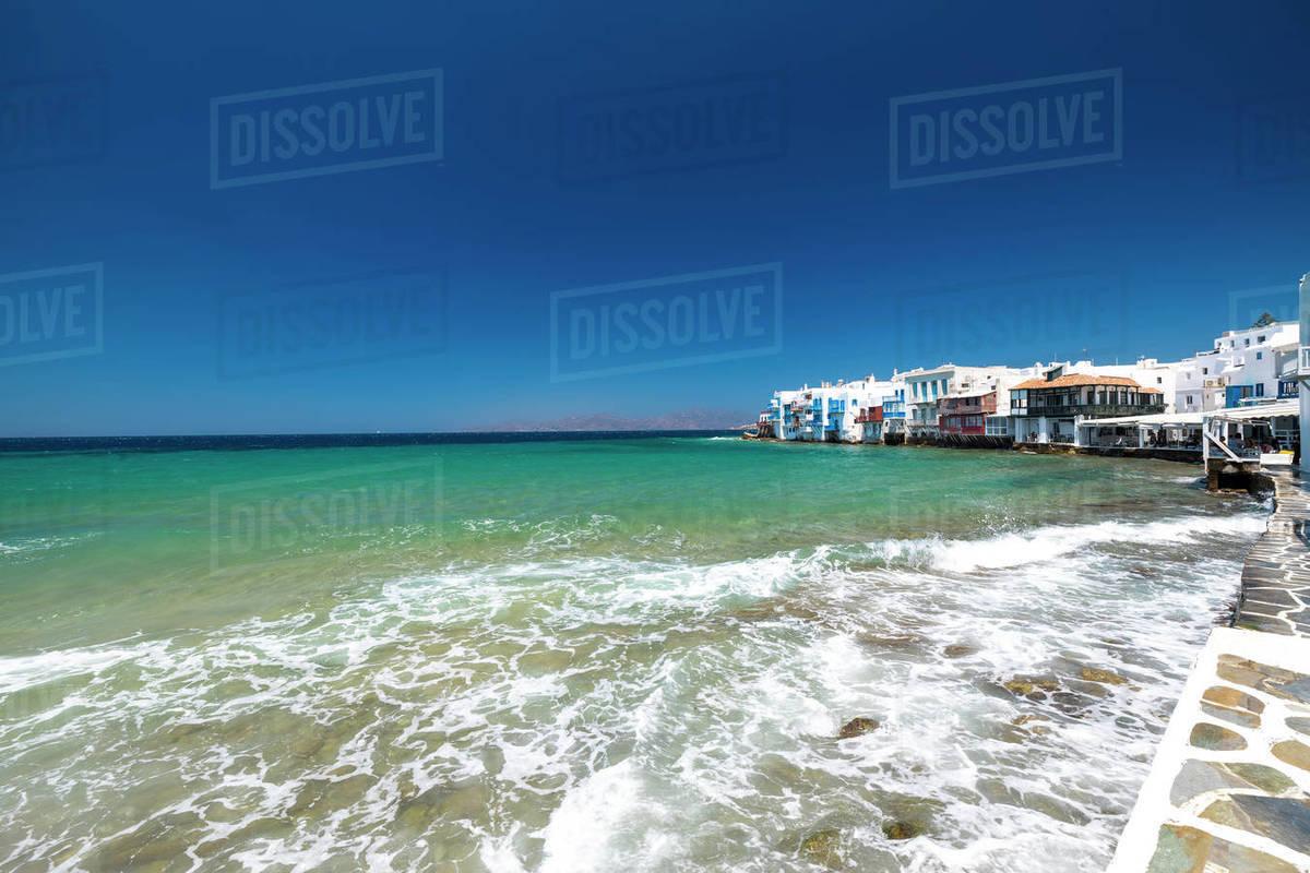 Little Venice, Mykonos Town, Mykonos Island, Cyclades Group, Greek Islands, Greece, Europe Royalty-free stock photo