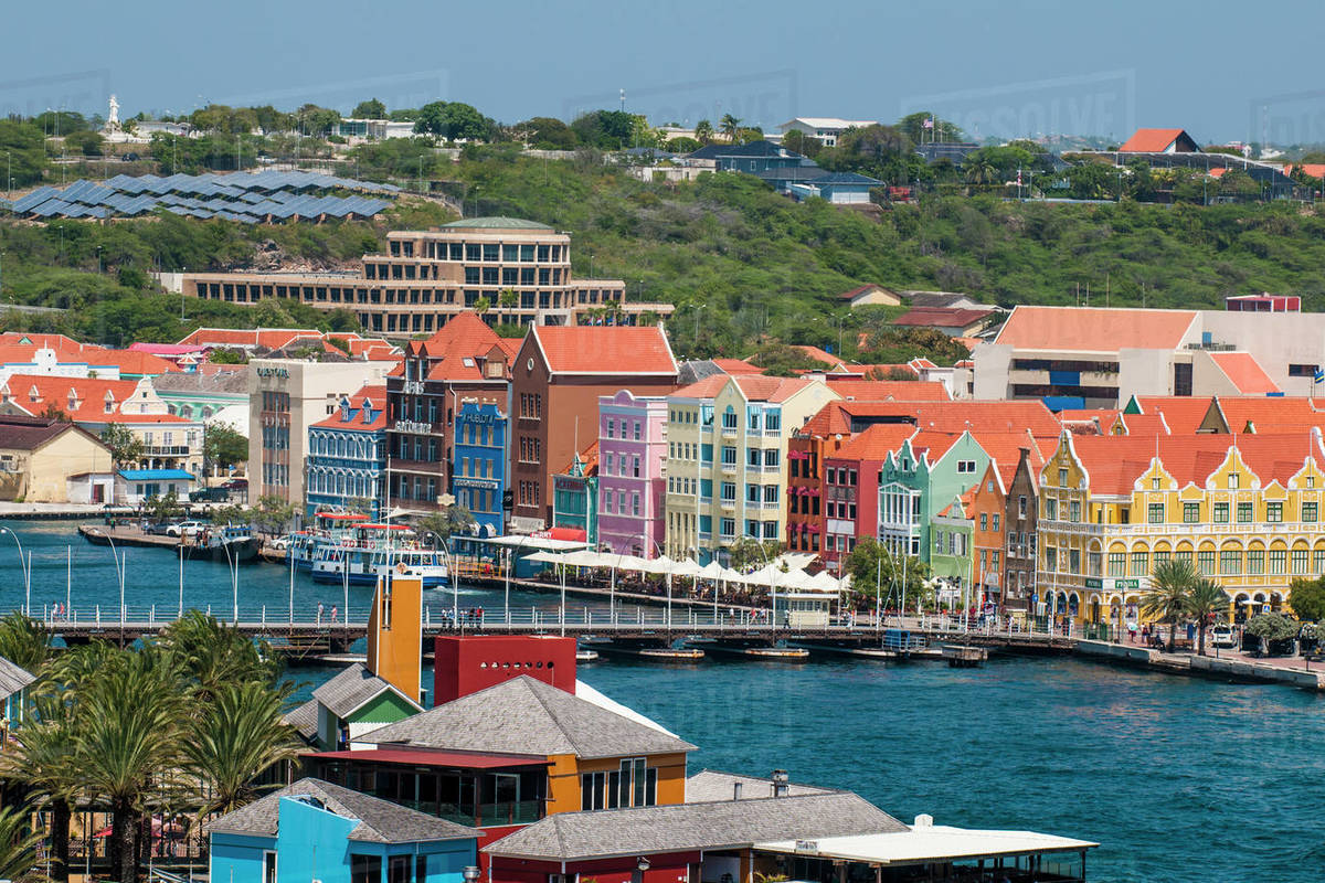 Aerial view of capital city Willemstad, UNESCO World Heritage Site, Curacao, ABC Islands, Dutch Antilles, Caribbean, Central America Royalty-free stock photo