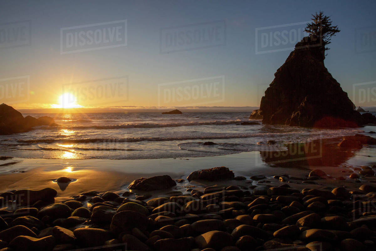 Sunset at low tide on Hidden Beach, Klamath, California, United States of America, North America Royalty-free stock photo
