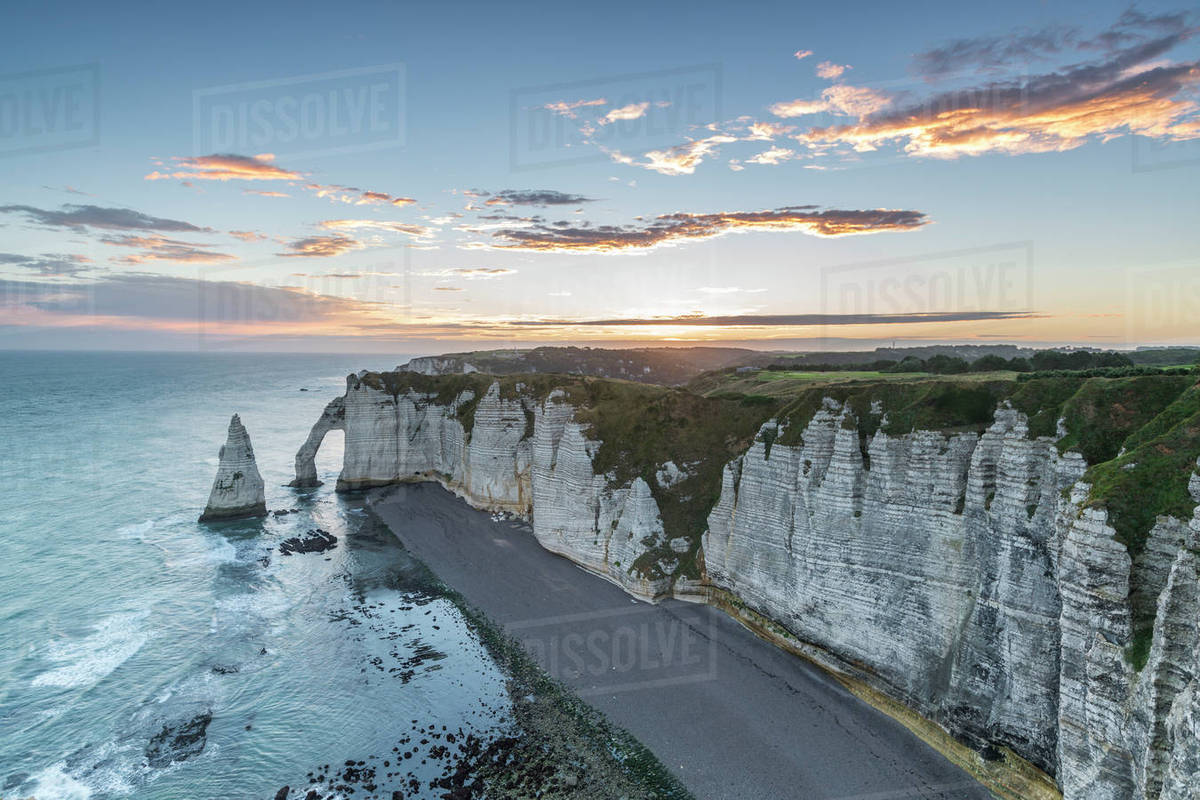 Dawn At The Chalk Cliffs Etretat Normandy France Europe