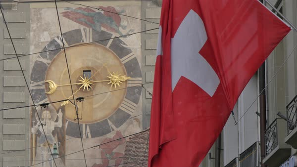 Clock and Swiss flag on Marktgasse, Bern, Canton of Bern, Bernese Oberland, Swiss Alps, Switzerland, Europe Royalty-free stock video