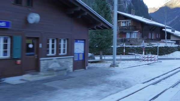Onboard Berner Oberlandbahn Railway through Schwendi, Jungfrau region, Bernese Oberland, Swiss Alps, Switzerland, Europe Royalty-free stock video