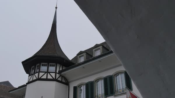 Architecture on Rathausplatz, Thun, Jungfrau region, Bernese Oberland, Swiss Alps, Switzerland, Europe Royalty-free stock video