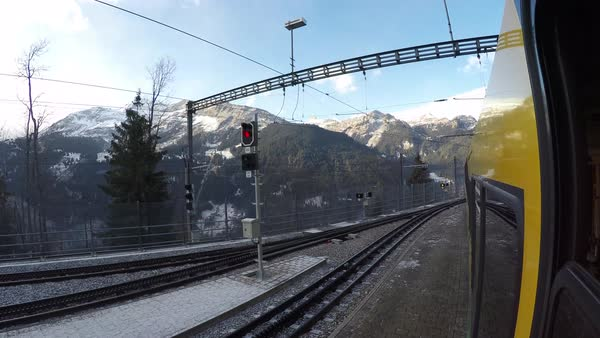 Train ride from Wengen to Lauterbrunnen, Jungfrau region, Bernese Oberland, Swiss Alps, Switzerland, Europe Royalty-free stock video