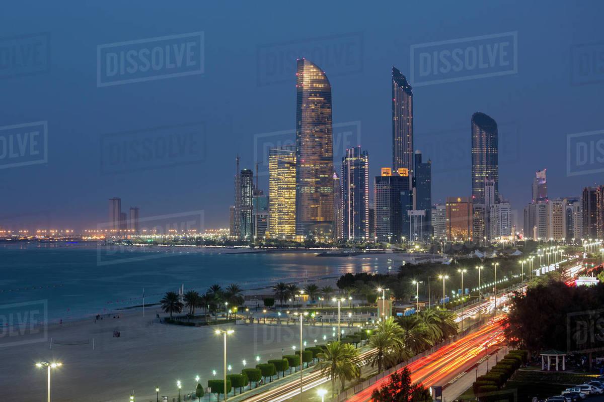 Modern city skyline, Abu Dhabi, United Arab Emirates, Middle East stock  photo