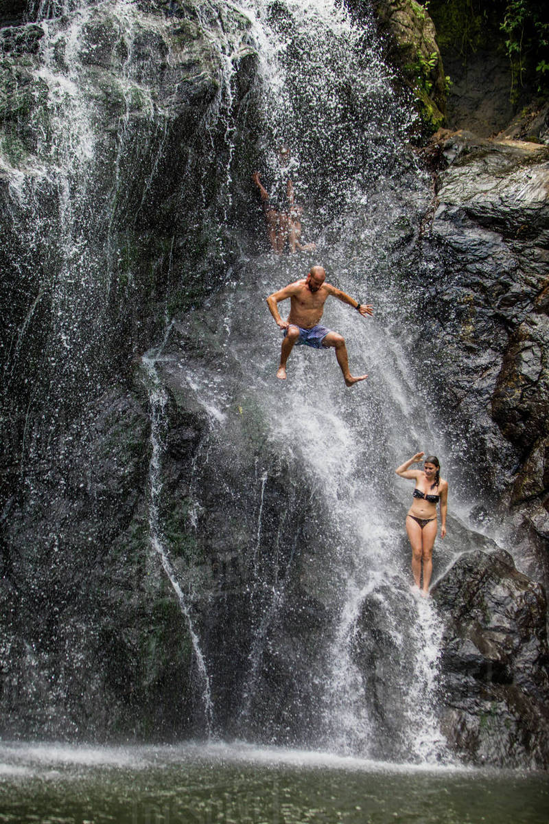 Waterfall jumping, Fiji, South Pacific, Pacific Royalty-free stock photo