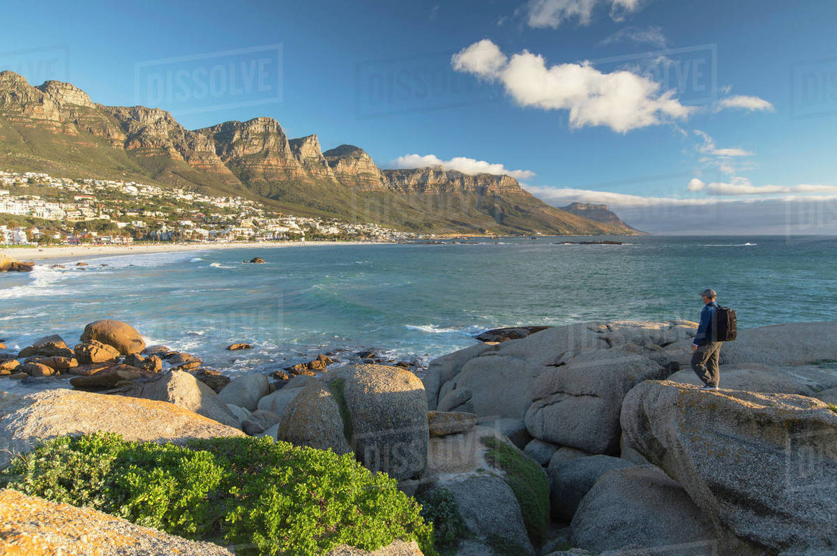 Man At Camps Bay Cape Town Western Cape South Africa Africa Stock Photo