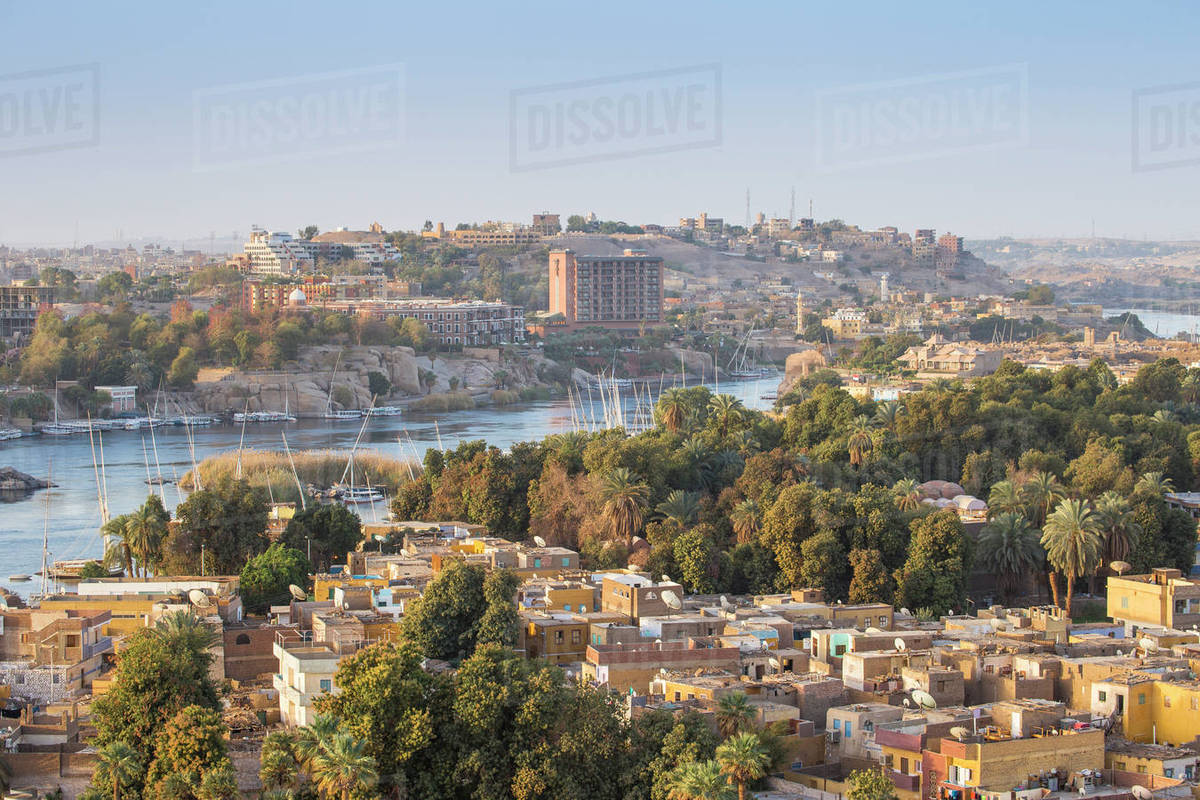 View Of Aswan Looking Over Elephantine Island Towards The Cataract