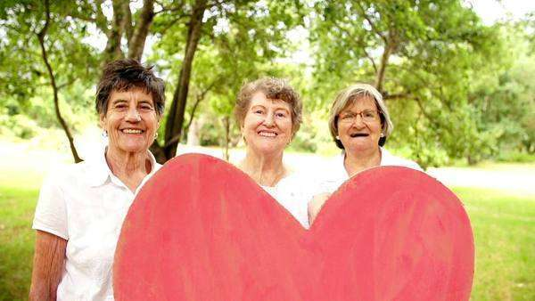 Grandmothers holding heart sign Royalty-free stock video