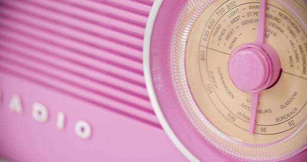 Close-up of vintage pink radio Royalty-free stock video