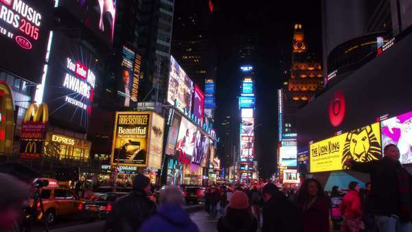 New York City - April 15, 2015 Timelapse video of Times Square at night in Manhattan, New York City Royalty-free stock video