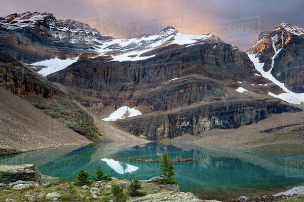 Canada, British Columbia, Yoho National Park. Tranquil Lake Oesa reflects mountains. Royalty-free stock photo