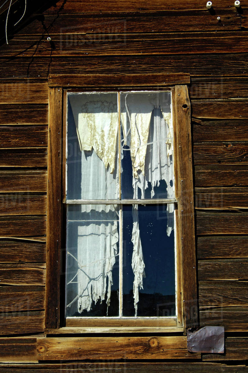 usa california bodie state historic park tattered drapes hang in