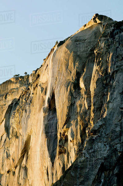 USA, California, Yosemite National Park. Horsetail Falls at sunset. Royalty-free stock photo