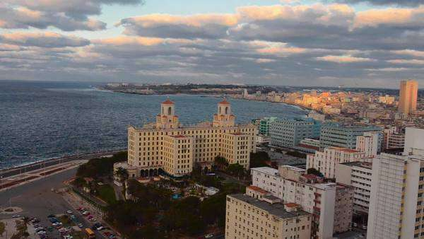 Havana Cuba view from above of entire city waterfront at sunset twilight of growing city from above in the Caribbean Royalty-free stock video