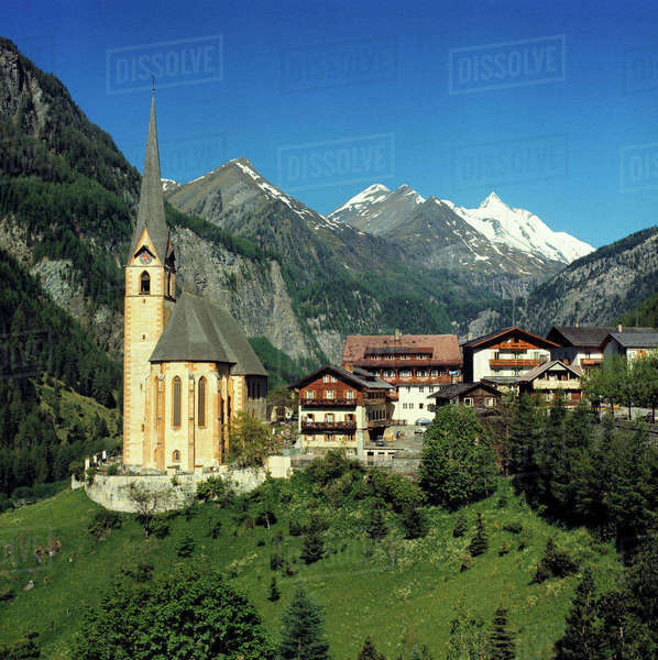 Europe, Austria, Heiligenblut. Heiligenblut sits at the base of the Hohe Tauern Alps in Austria. Royalty-free stock photo