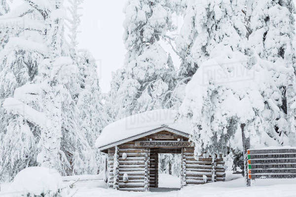 Entrance to Riisitunturi National Park, winter, Lapland, Finland Royalty-free stock photo