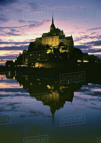 Europe, France, Le Mont St.-Michel. Le Mont St.-Michel, a World Heritage Site in Normandy, France, is one of France's main tourist attractions. Royalty-free stock photo