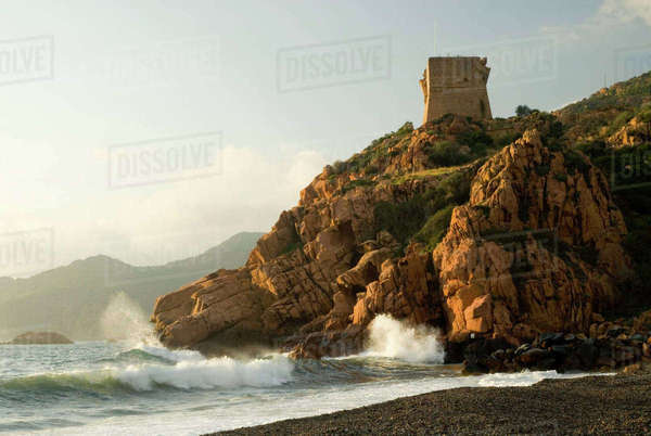 Europe, France, Corsica, Porto.  Genoan tower constructed mid 1500's, restored 1993 Royalty-free stock photo