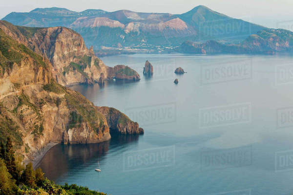 View of Volcano island from Quattrocchi, Lipari island, Sicily, Italy Royalty-free stock photo