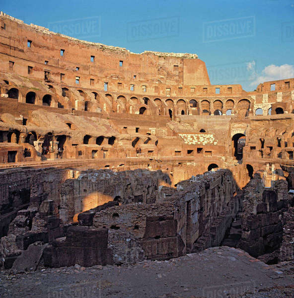 Europe, Italy, Rome. The Colosseum, a World Heritage Site, was commissioned by Vespasian in 72AD in Rome, Italy. Royalty-free stock photo