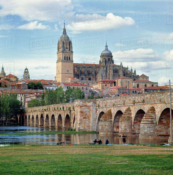 Europe, Spain, Salamanca. The Roman bridge over the Tormes River in Salamanca, a World Heritage Site, Spain, dates from the First Century B.C. Royalty-free stock photo